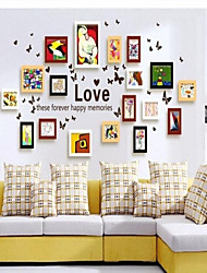 Natural White Black Coffee Photo Wall Frame Collection Set of 18 with Love Wall Sticker