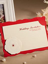 Invitation de mariage de charme rouge de relief - Ensemble de 50