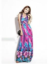 Women's Bohemia Paint Long Halter Dress
