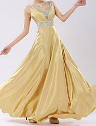 TAOTAO  Women's Sexy Sequined Straps V Neck Floor-Length Evening Dress(Gold)