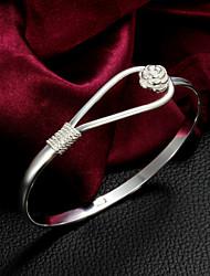 High Quality Original Silver Silver-Plated Flower Locked Bangle Bracelets