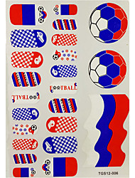 2PCS 20 Russie Coupe du Monde de Football Motif Nail Art Stickers & 3 tatouage temporaire