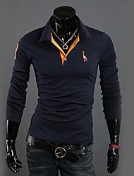DAVIDANN Lässige Baumwollmischung Langarm-T-Shirt-28