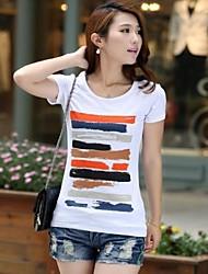 Damen Druck Einfach / Street Schick Lässig/Alltäglich T-shirt Sommer Kurzarm Weiß / Schwarz Dünn