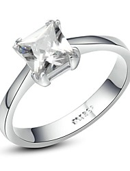 Gorgeous 18K White Gold Plated Crystal Simulated Diamond Engagement Ring