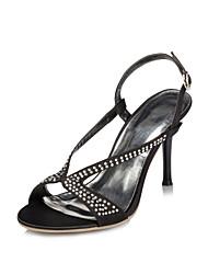 Stiletto de cetim das mulheres do salto Sling Voltar sandálias com strass sapatos