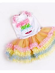 Tutu doux style princesse crème Rainbow pour Animaux Chiens (tailles assorties)