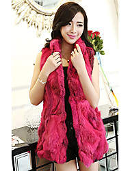 Fur Vest With Sleeveless Standing Rabbit Fur Party/Casual Vest(More Colors)