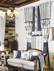 (Two Panels) Retro Country Oriental Floral Elegant Energy Saving Curtain