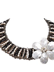 JANE STONE White Black Pearl Crystal Statement with Shell Flower Necklace