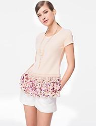 Mulheres de manga curta costura do laço impresso camisa de algodão Blusa