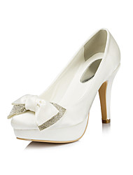 Satin Women's Wedding Stiletto Heel Platform Pumps/Heels With Rhinestone Shoes(More Colors)
