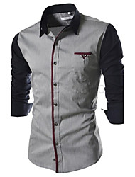 Men's Casual Contrast Color Long Sleeve Shirt