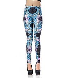 Elonbo Women's Round Collar Digital Printing Coloured Drawing or Pattern Color Diamond Style  Tight Women Leggings