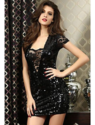 Women's Solid Black Dress , Lace/Sexy Asymmetrical Short Sleeve Sequins/Lace