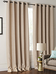 (Two Panels) Modern Minimalist Solid Embossed Blackout Curtain