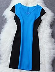 Bleu et noir Couleur OL robe des femmes
