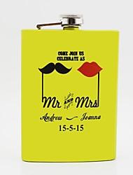 cadeau personnalisé jaune 8 onces ballon de la hanche en acier inoxydable - mr. et mme.