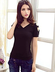 Women's Fashion Strapless Slim Solid Color Short Sleeve T-Shirt