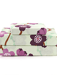 "Sheet Set,4-Piece Microfiber Country Floral Pink with 12"" Pocket Depth"