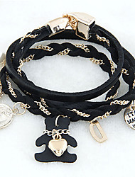 Fieer Europe Manual Knit Stack Leather Bracelet(Black,White,Brown,Coffee)