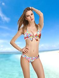 Women's Halter Bikinis , Floral Push-up/Padded Bras Nylon/Spandex Red