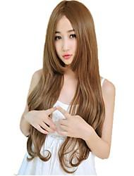Mujer sin tapa bang lado sintético largo ondulado pelucas 23 Inch 4 colores disponibles