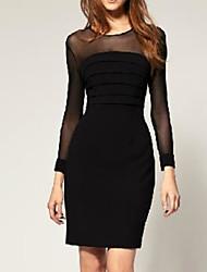 CD malha emenda Sexy Dress (preto)-H1021