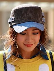 Ouyue Korean Cowboy Flat-Top Cap Vintage 100% Cotton Peaked Cap