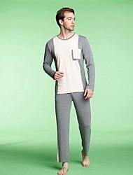 Мужская круглым воротом Color Matching Главная Обстановка костюм Модальные пижамы