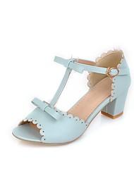 Women's Shoes Leatherette Summer Peep Toe Dress Chunky Heel Bowknot