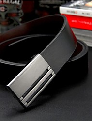 Men's Luxe Genuine Leather Smooth Buckle Belt