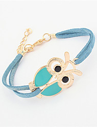 Ablla Women's Fashion Vintage All Match Owl Design Bracelet (Blue)