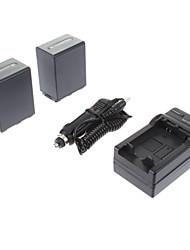 ismartdigi-Sony NP-FH100 (2pcs) 3900mah, 7.2V Bateria Camera + Carregador de isqueiro para SONY HDR-SR11E SR12E XR100E XR5