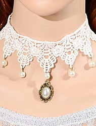 Elonbo White Lace And Pearls Style Vintage Gothic Lolita Collar Choker Pendant Necklace Jewelry