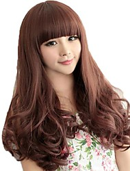Woman Full Bang Synthetic Long Wavy Wigs 4 Colors Available