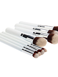 8PCS Wooden Handle Makeup Brush Set with Black Cylinder Tube