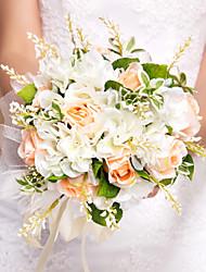 Bouquet sposa Tondo Rose Bouquet Matrimonio Seta Arancione 26cm