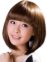 Senza cappuccio corto capelli ricci scuri elegante completo sintetico Bang parrucche