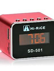 Neue HALLO-Rice-SD-501 Stereo MINI Schwer Bass FM / TF-USB-Lautsprecher LCD-Display / Uhr / Wecker-Red