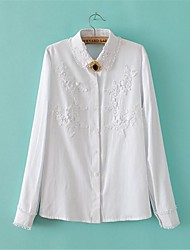 Women's Formal Simple Spring Shirt,Solid Shirt Collar Long Sleeve White Cotton / Linen Thin