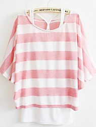 Women's Striped Blue/Gray/Pink T-shirt , Round Neck ½ Length Sleeve