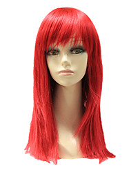 Capless Synthetic Red Color Long Straight Synthetic Hair Wig