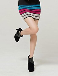 Kvinners Candy Color Elastic Striped Knit Package Hip skjørt