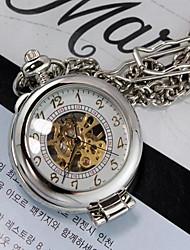 Мужская Серебряный Белый Лупа Через Механик Скелет карманные часы