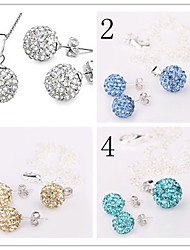 women's 10mm Ball Crystal Earrings Necklace Jewelry Set No.2