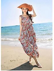 Women's Bohemia Floral Sleeveless Cotton Dress