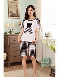 Mulheres Stripe Panda Imprimir Pajama