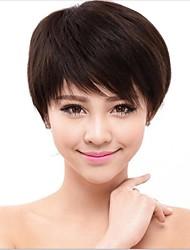 Capless brun ondulé 100% perruques de cheveux humains 3 couleurs disponibles