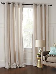 (Dos paneles) moderno y elegante a cuadros de color beige ecológico cortina